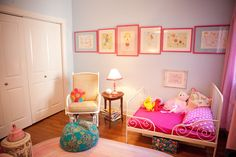 Hot Pink and Blue Bohemian Girls Room very pale blue paint