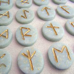 Lavender Bud and Gold Leaf Polymer Clay Herbal Runes. $28.00, via Etsy.