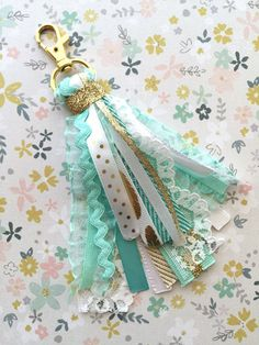 Mint and Gold Ribbon Purse Charm , Planner Charm  Diamond Bag by simbiosisbyjulia