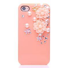 Pérola Metal Case Voltar Jóias Teste padrão de flor para o iPhone 4/4S – BRL R$ 10,30