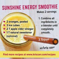 Smoothie Recipe: Sunshine Energy Smoothie from KrisCarr.com #smoothie #kriscarr #raw #vegan #recipes #glutenfree