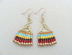 Macrame earrings with wax cotton thread, brass beads, ear wires, multicolor, colorful earring, Bohemian, Orange, Blue, Yellow, Brown, Boho