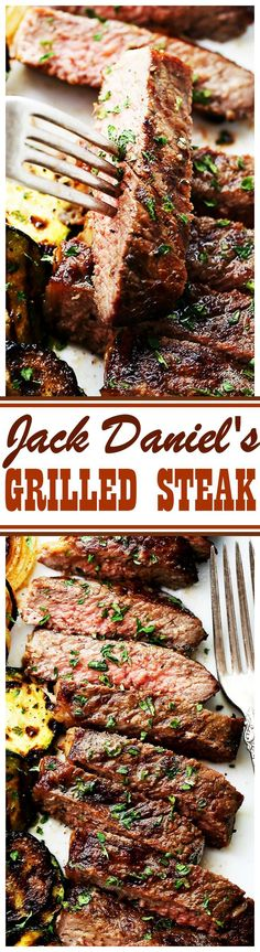 Jack Daniel's Grilled Steak Recipe – New York Strip Steaks marinated in one of the most delicious marinades made with Jack Daniel's Whiskey and Soy Sauce. Our favorite steak house meal made at home! This marinade is so damn good! Grilled Steak Recipes, Marinated Steak, Grilling Recipes, Meat Recipes, Dinner Recipes, Cooking Recipes, Bbq Steak Marinade, Grilled Steaks, Steak Marinades
