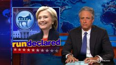 """You [Hilary Clinton] had to share your announcement with a guy from a gravel company"" .. Jon Stewart Mocks Republican Responses to Hillary Clinton's Presidential Announcement 