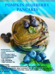 Pumpkin Blueberry Pancakes http://www.draxe.com/recipe/pumpkin-blueberry-pancakes/
