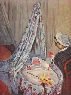 Reproduction de Monet, Jean Monet dans son berceau. Tableau peint à la main dans nos ateliers. Peinture à l'huile sur toile.