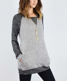Another great find on #zulily! Charcoal Pocket Raglan Tunic #zulilyfinds