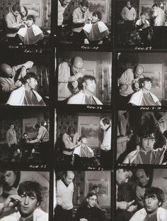 John getting his hair done.