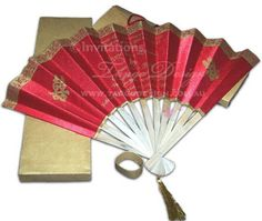 fabric wedding fan invitations