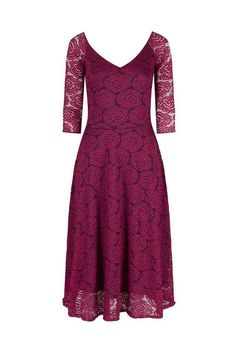 Magenta Red 3/4 Sleeve Lace Cocktail Dress