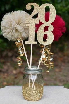 graduation celebration college graduation celebration center pieces Graduation Party Decorations Class of 2019 Centerpiece Table Decoration Pom Pom Wands You Choose Colors - - Graduation Open Houses, College Graduation Parties, Graduation 2016, Graduation Celebration, Grad Parties, Graduation Ideas, Pink Graduation Party, Graduation Jewelry, Prom Party