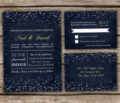 Starry Night Wedding Invitation & RSVP Postcards by chitrap