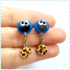 Super mignon Cookie Monster boucles d'oreilles par momomony sur Etsy