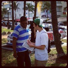 Lynn University student Dan Fuiman surveying a fan while working at @NASCAR's Championship Drive event on South Beach. #LynnUniversity