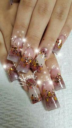 Sencillitas Duck Flare Nails, Flare Acrylic Nails, Duck Nails, Best Acrylic Nails, French Manicure Nails, Glam Nails, Bling Nails, Toe Nails, Pretty Nail Designs