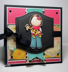 MFT-PI Giraffe Girl  Long Time No See!  she is colored with Copic Markers.   patterned paper is Sugar Chic from Heidi Swapp and I've used the new Designer Label 1 STAX Die-Namics as a base for her!
