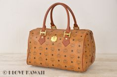 MCM Cognac Visetos PVC / Brown Leather Hand Bag 35