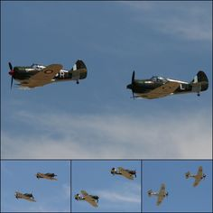 A pair of CAC Boomerangs fly together for probably the first time since World War Two at the Temora Aviation Museum on October 2009