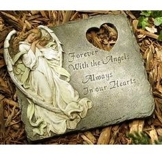 """Roman Inc. 10.25"""" Memorial Garden Stepping Stone with Message (47477) by Roman Inc. $27.85. A heavenly angel adorns, and heart cutout complements, this stepping stone made of resin and stone with the etched phrase of comfort, Forever With the Angels, Always In our Hearts. Measures approximately 11.25 inches by 11.25 inches and 0.38 inch deep. Comes with a hanger on the back making it suitable for indoors or outdoors."""