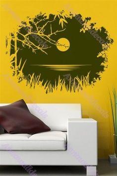 Clair de lune sur la lotus pond Stickers : muraux, Stickers muraux nature, vinyle wall decal, nature autocollant sticker, stickers muraux pépinière
