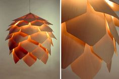 The Crimean pinecone lamp consists of 56 plates of slightly transparent wood held by screws. Boards are held together without an internal skeleton, this means that light passes through the gaps, producing a soft, warm glow.