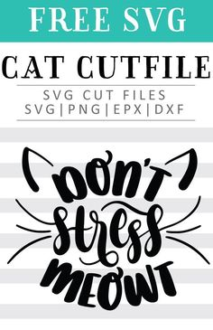 Free Don't Stress Meowt SVG, PNG, EPS & DXF by Caluya Design. Compatible with Cameo Silhouette, Cricut and other major cutting machines!Perfect for your DIY projects, Giveaway and personalized gift. Perfect for Planner customization! Cricut Craft Room, Cricut Vinyl, Vinyl Decals, Free Font Design, Design Logo, Vinyl Projects, Craft Projects, Craft Ideas, Free Printable Clip Art
