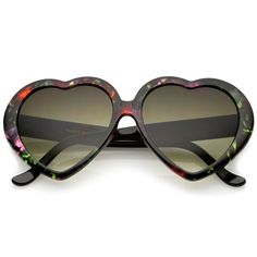 ca8ad9c5898 Women s Floral Print Gradient Lens Heart Sunglasses 56mm