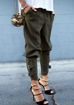 Side view of buckled-hem army green harem pants