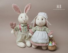 Текстильная игрушка Пасхальные кролики