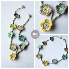 """Crochet Necklace - Tutorial -- I think just making it longer and longer and longer would make a really cute """"garland"""" style scarf!  Love!"""