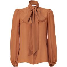 EMILIO PUCCI Amber Tie Neck Silk Top ($422) ❤ liked on Polyvore featuring tops, blouses, shirts, brown, brown shirts, silk shirt, silk blouse, long sleeve blouse and brown long sleeve shirt
