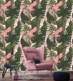 Bring the jungle into your home with our wall mural featuring parrots and palms. For a tropical style interior feel, this wallpaper is a great option. Repetition of patterns: 60 x 60 cm. This custom designed wallpaper mural is available in three colors. Palm Wallpaper, Tropical Style, Designer Wallpaper, Pattern Wallpaper, Wall Murals, Custom Design, Interior, Modern, Panelling