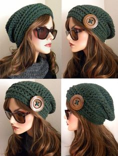 Hunter Green Tweed Boho Chic Slouchy Beanie Hat by FreeSpiritHats