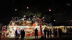Neighbors are used to the holiday hoopla at Dick Norton's home in Burbank, CA, including a merry-go-round and train station.