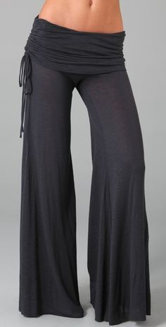 Wide-leg yoga pants with details span the casual and dressy realms well.