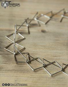 Zilver 925 geometrische 3D-verklaring ketting handgemaakte