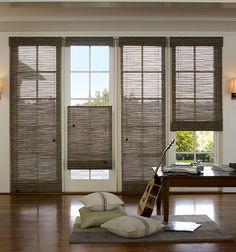 Woven Wood Shades from Budget Blinds come in a wide variety of beautiful styles. Schedule a free in-home consultation to see our full line of Woven Wood Shades. Window Coverings, Window Treatments, Patio Door Coverings, Woven Wood Shades, Bamboo Shades, Budget Blinds, Blinds For Windows, Window Blinds, Privacy Blinds