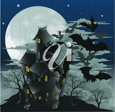 Illustration of Halloween scene. Illustration of a spooky haunted ghost house with bats flying out of it against the moon. vector art, clipart and stock vectors. Halloween Scene, Halloween House, Fall Halloween, Happy Halloween, Haunted Halloween, Halloween Crafts, Cross Stitching, Cross Stitch Embroidery, Cross Stitch Patterns