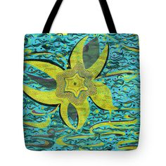 "Universe - Blue Blooming Hell Tote Bag 18"" x 18"""