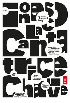 Poster by the french graphic designer Philippe Apeloig-La Cantatrice Chauve Théâtre national de Toulouse Midi-Pyrénées 2016