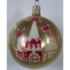 Glass Orange Rare Big Ball Glass Christmas ornament Antique tree decoration Christmas Large Ball Soviet vintage Outdoor decoration 1950s