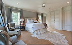 Ivory and Beige Bedroom - Transitional - bedroom - Wayne Windham Architect Curtains For Grey Walls, Gray Bedroom Walls, Bedroom Carpet, Gray Walls, Silk Curtains, Bedroom Curtains, Texas Bedroom, Home Bedroom, Master Bedroom