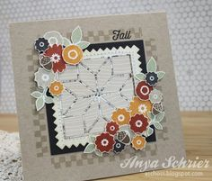 Anya Schrier featuring Wplus9's Folk Art Florals, Happy Harvest and Country Charm stamps sets, Quilt Cuts 2 and Pinking Squares dies.