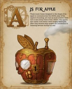 abc - letter A for apple (steampunk design).