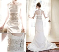 Beth Elis wedding dress with racer back and beautiful gold and silver embroidered corset