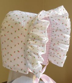 Baby Bonnet Rose Bud with Gingham ChecksReversible by MaryandEllen, $19.00