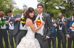 Superhero wedding minus superman.