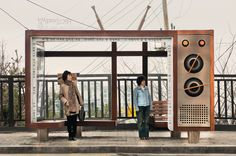 The Stark Difference Between North And South Korea In 10 Stunning Photos - Wish they had TV's at Bus Stops, only problem: other people wanting to watch different things...