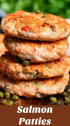 These tasty salmon cakes are made with raw salmon onions peppers herbs lemon juice and a few other flavorful ingredients. Seafood Dishes, Seafood Recipes, Appetizer Recipes, Cooking Recipes, Healthy Recipes, Appetizers, Healthy Dinners, Rice Recipes, Delicious Recipes