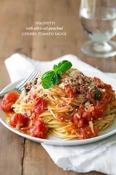 Spaghetti Olive-Oil-Poached Cherry Tomato Sauce